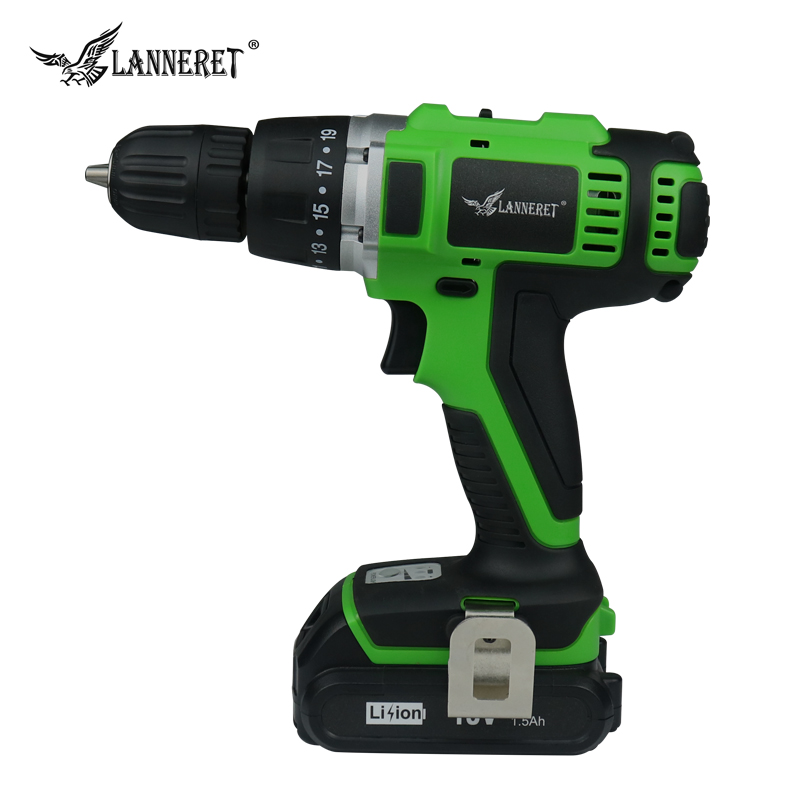 LANNERET CD18HL01 18V Lithium-ion battery 2 speed Cordless drill Electric Screwdriver Household Rechargeable Drill Tools m18 18v 2000mah li ion battery for milwaukee m18 48 11 1828 48 11 1840 18v 2a electric drill lithium ion p34