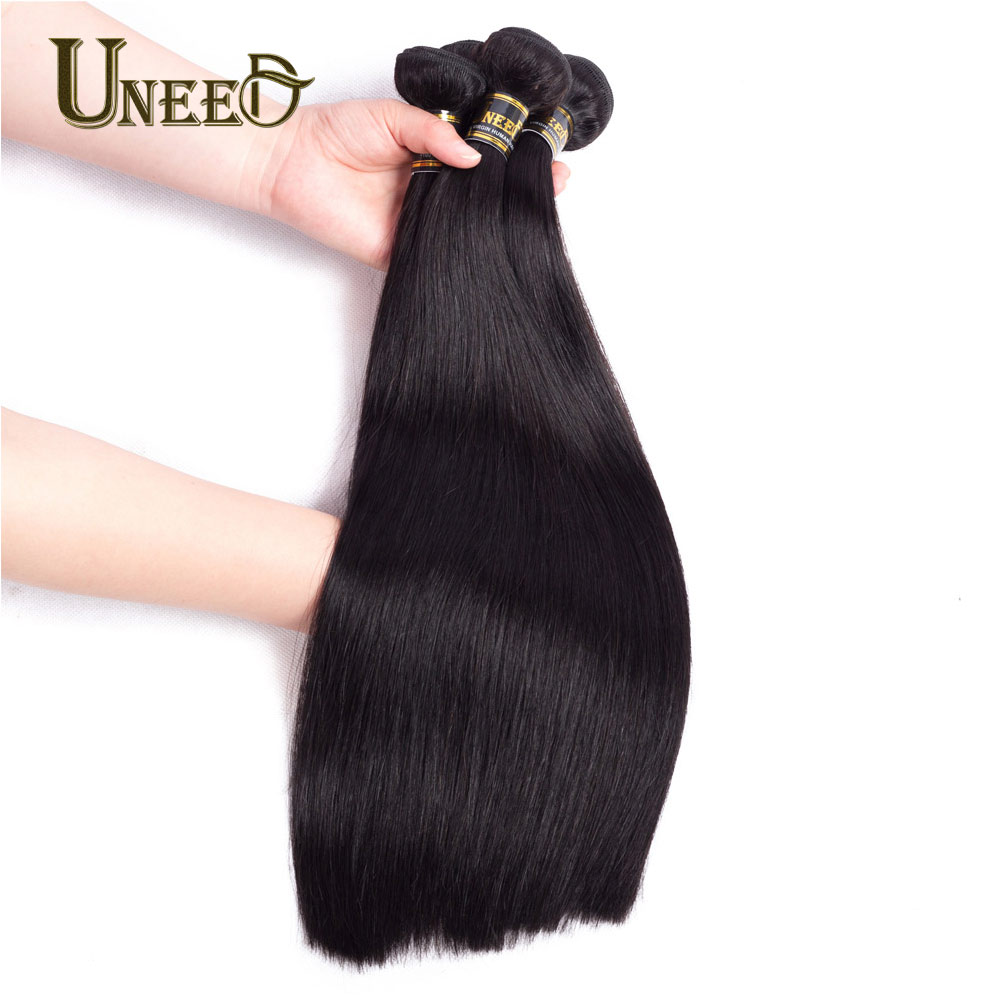 Uneed Hair 3Pcs/Lot Indian Straight Hair Bundles 100% Human Hair Weave Extensions Natural Black Color 8-26inch Remy Hair Weaving