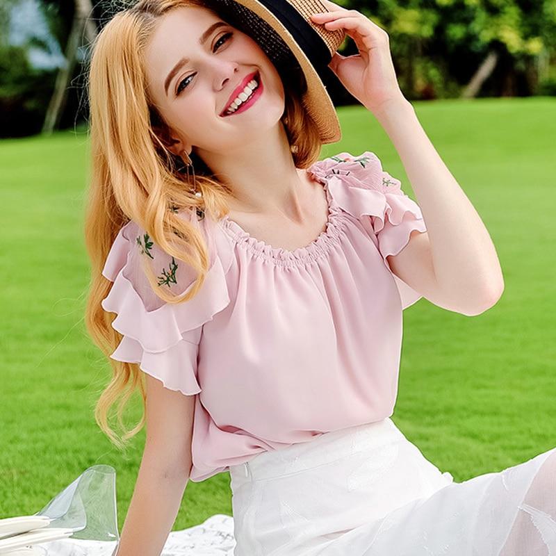 Broderie Vêtements Blouse Sylish Tops Mousseline Élégant De New Femmes Casual cou D'o En Mode Douille Élastique Rose Pink Soie Summer Flare nIddSp