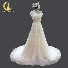 JIALINZEYI Real picture Luxurious Short Sleeves Flowers Beads with Crystal A-line Bridal Wedding dresses Wedding gown