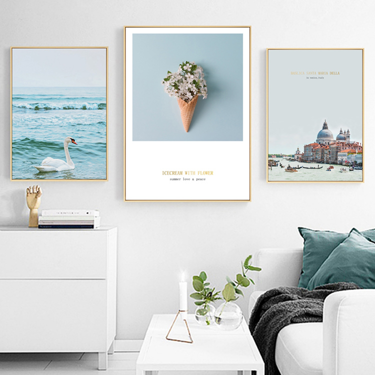 Us 2 5 Modern Landscape Painting Venetian Church Lakeside Photo Canvas Wall Art Prints Nordic Home Decor For Living Room 740 In
