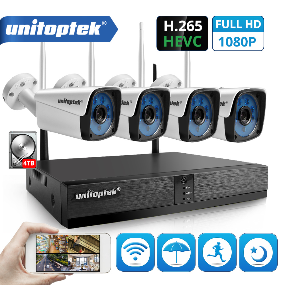 4CH 1080P Wireless CCTV System KIT H 265 4CH NVR 2MP WIFI IP Camera Outdoor Waterproof