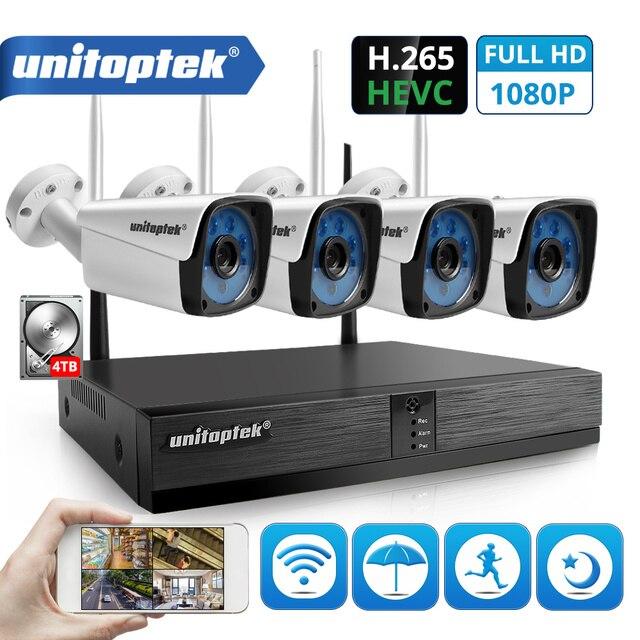 4CH 1080 P Беспроводной комплект системы видеонаблюдения H.265 4CH NVR 2MP WI-FI IP Камера открытый Водонепроницаемый для охранного видеонаблюдения комп...