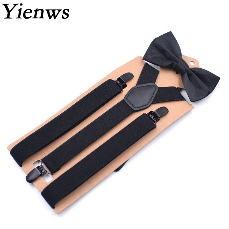 Yienws Adulto Suspenders and Bow Tie Set Black Bowtie Braces for Men Women Bow Tie Suspenders for Tall Bretels 110cm YiA090