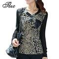 НОВАЯ Осень Леди Мода Leopard Печати Тис Большой Размер L-4XL Хорошее Марка Винтажный Дизайн Элегантных Женщин Случайные Футболки