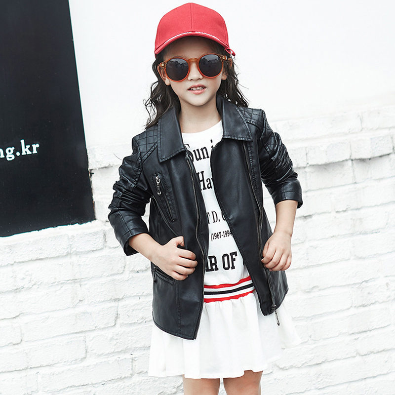 Autumn winter Jacket for Girls 2017 Brand Unisex Leather Jacket Boys Coats Children toddler Infant for Kids Baby Clothes