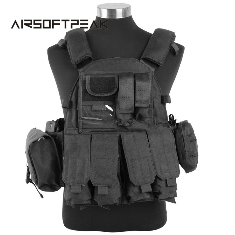 Tactical Molle Hunting Vests 1000D 6094 Vest Outdoor Combat Nylon Tactical Vest With Army Military Accessory Pouches camouflage tactical vest mens hunting vest outdoor black training military army swat mesh vests protective equipment