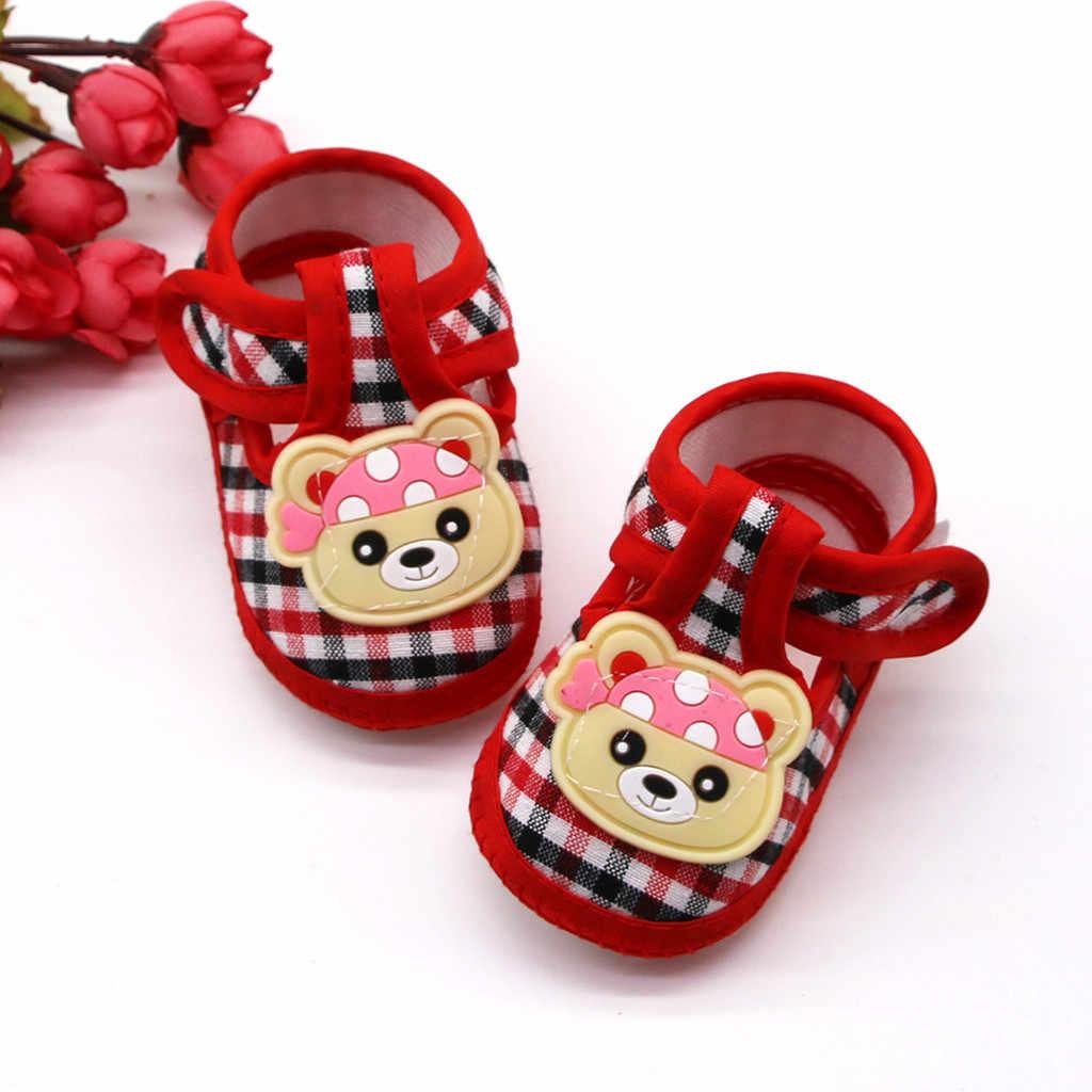 Sepatu untuk Bayi Perempuan Kisi Beruang Kecil Prewalker Lembut Sole Sepatu Tunggal Balita Pertama Walker Sole Anti-Slip anak-anak Sepatu