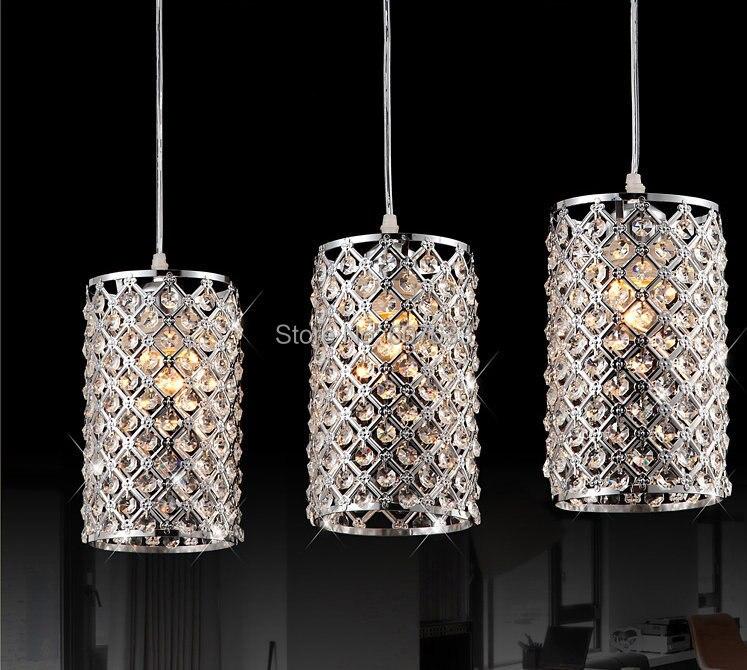 modern led crystal pendant lights fashion polished chrome pendant lamps lustres single head dining room light lamparas colgantesin pendant lights from
