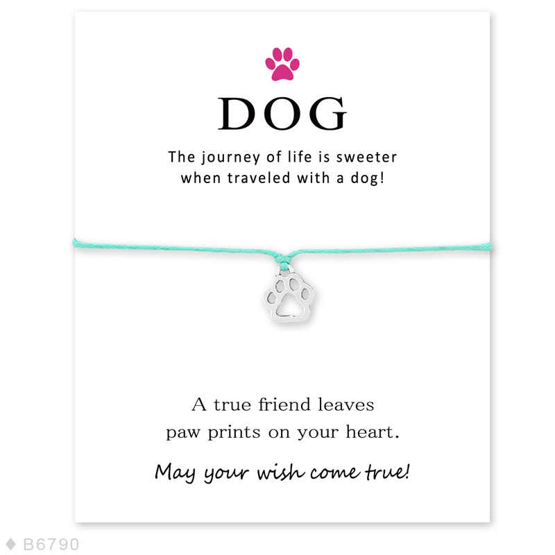 Friendship Dogs Paw prints Heart Card Wish String Silver Infinity Charm Bracelet Gift Tag #17
