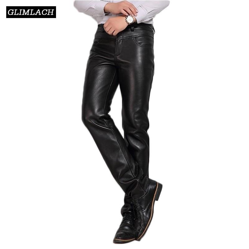 Luxury Business Casual Sheepskin Genuine Leather Pants Men Clothing 2018 New Fleece Warm Natural Leather Trousers Streetwear Man