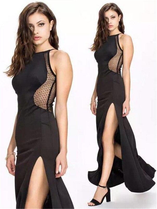 Long Bandage Dresses 2016 New Arrivals Rayon Black Elegant Dress Side Split Maxi Dress Mesh Dresses Women Wholesale HL