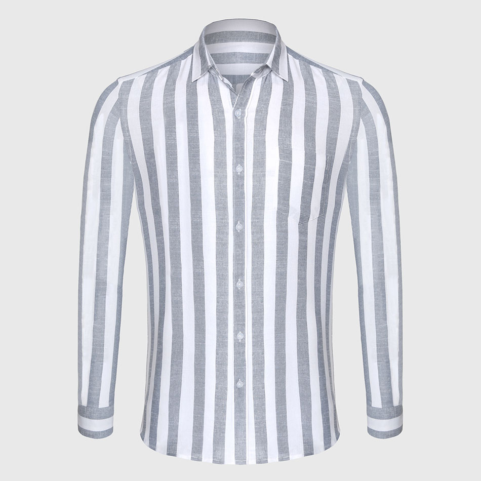 Zecmos Stripe Cotton Linen Casual Shirt Men Striped Shirt Li