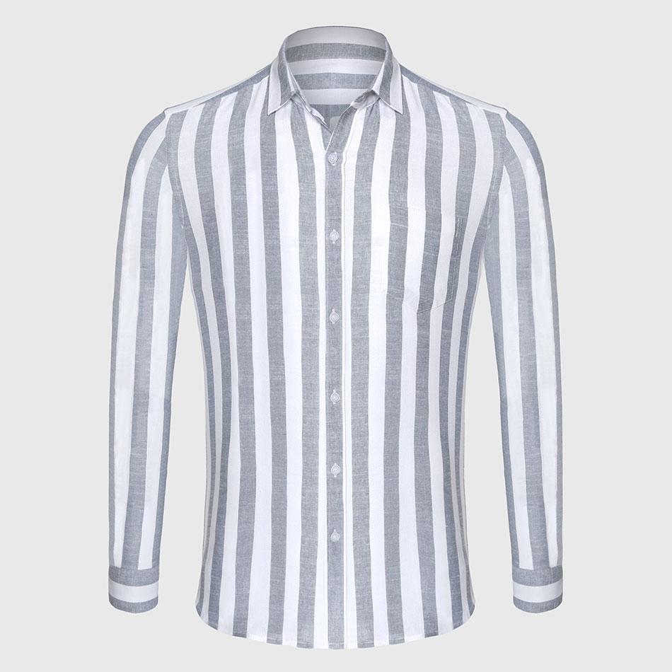 Zecmos Stripe Cotton Linen Casual Shirt Men Striped