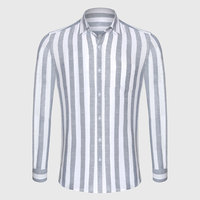 Zecmos Stripe Cotton Linen Casual Shirt Men Striped Shirt Linen Male Slim Fit Men Shirt Long
