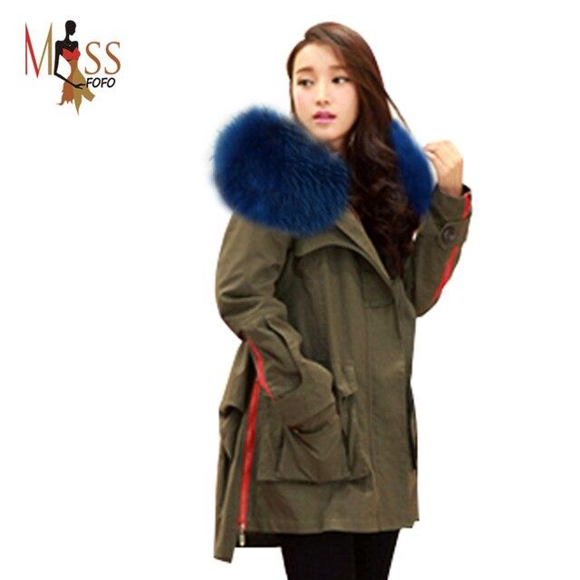 Новый 2016 Зимняя Куртка женщин Парки Army Green Большой Реального Ракун Цвет Меховой Воротник Капюшоном Пальто Женщина Верхней одежды качество