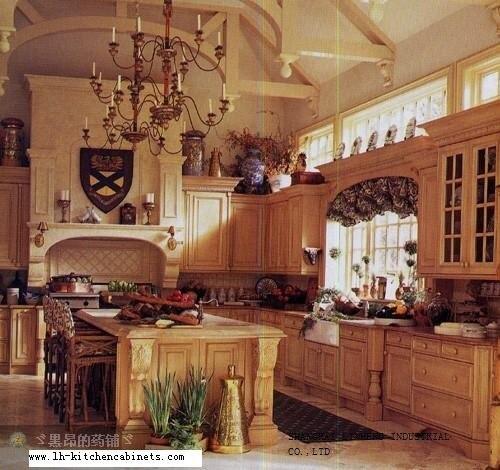 En bois massif rustique armoires de cuisine (LH-SW023)