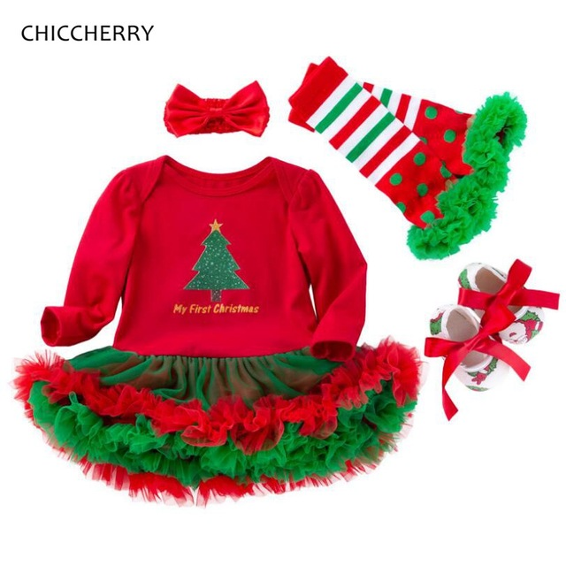 91d437d86fd0e Mon premier noël bébé fille vêtements ensembles dentelle barboteuse robe  bandeau jambières berceau chaussures filles de