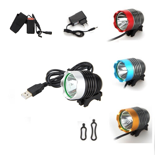 Rechargeable 3000LM XML T6 LED USB Bike Bicycle Light Cycling Headlight Lamp Torch with 4x18650 Battery Pack lumiparty 4000lm headlight cree t6 led head lamp headlamp linterna torch led flashlights biking fishing torch for 18650 battery