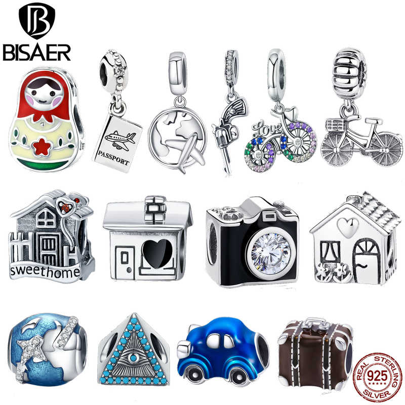 BISAER 925 Sterling Silver Eiffel Tower House Bicyle Bike Earth World Travel Pendant Fit Charms Bracelet Beads Jewelry Making