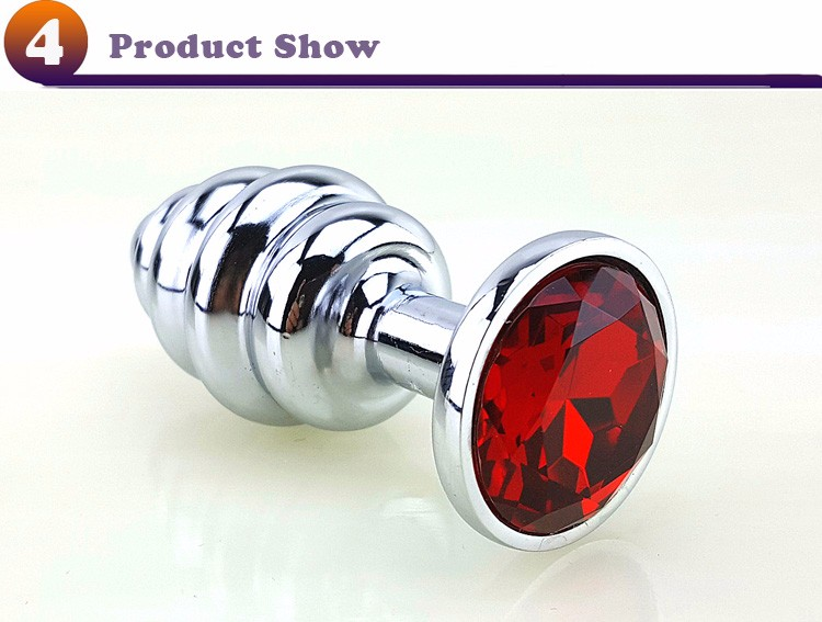 New Metal Anal Plug 7 Colors Butt Plugs Toys Sex Toys for Women Stainless Steel+Crystal Jewelry Sex Products, Spiral Anal Beads 3