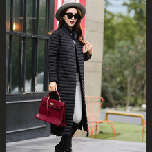 Long Winter Jacket Women Nice New Fashion Stand Collar Slim Duck Down Women's Winter Jacket Thin Cotton Coat Female AW1222
