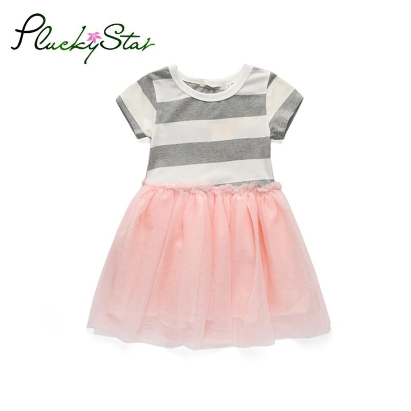 Pluckystar Summer Girls Dresses Cotton Short Sleeve A-line Girl Dress Stripe Children Clothes roupas infantis menina D58
