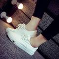Весной 2016 Вскользь Белые Туфли Плоские Туфли Скольжения на Женские Холст Обувь студенты обувь