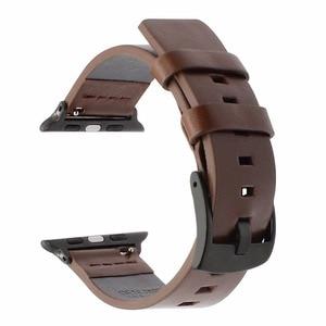Image 3 - Italienische Fettige Leder Armband für iWatch Apple Uhr SE 38mm 40mm 42mm 44mm Serie 6 5 4 3 2 1 uhr Band Stahl Spange Band