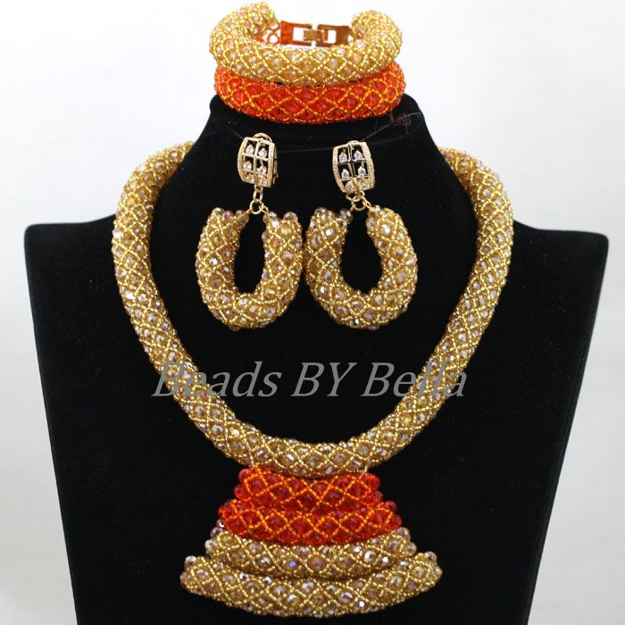 Nigerian Traditional Wedding Indian Bridal Jewelry Set Gold African Costume Crystal Beads Pendant Necklace Free Shipping ABK874