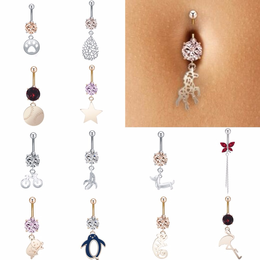 Barbell-Rings Jewelry Crystal Piercing Dangle-Button Navel-Belly Gift Animal-Star Sexy