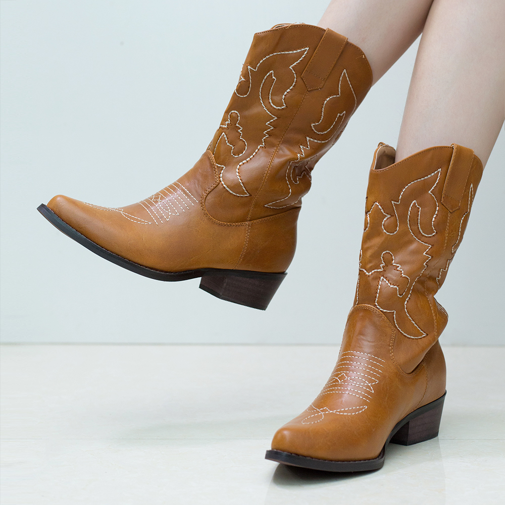 0f4c285594a LARA's 2015 New western cowboy boots for women mid calf genuine ...