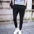 High Street Harem 2016 Mens Joggers HipHop Moda Homme Baggy Algodón Negro Diseño de La Cremallera Lateral Pantalones