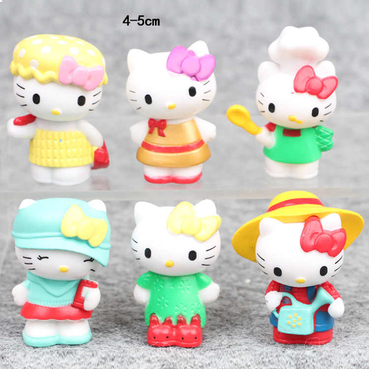 6pcs/lot 4-5cm Japanese classic anime figure hello kitty action figure collectible model toys for girls