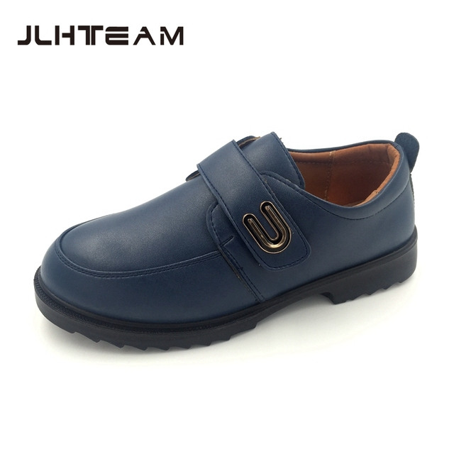 2016 new boys leather shoes Excellent quality cowhide God blue kids shoes Students show school children brand shoes leather shoe