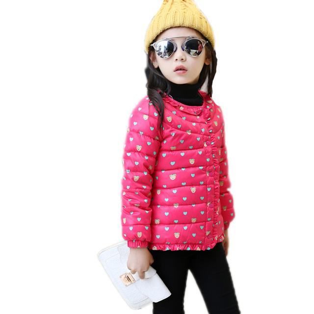 2016 meninas Novas jaqueta de inverno grosso urso impresso crianças bebê para baixo pato jaqueta de inverno para baixo crianças casacos de inverno meninas outerwear