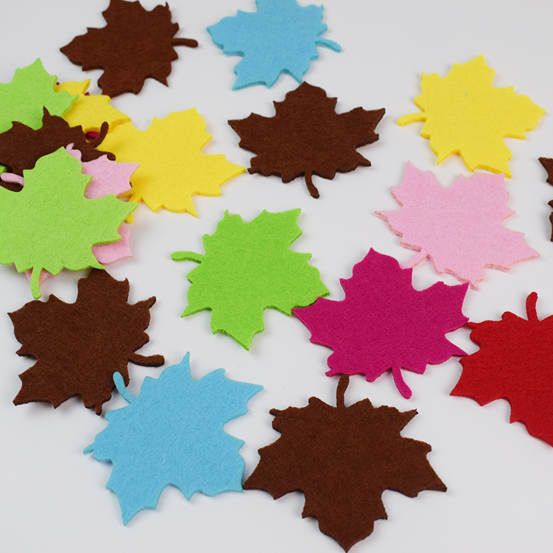 New Felt Cutting Maple Leaf Non-woven Felt Diy Craft Kindergarten Children Room Decoration Stickers Mix Color 20pcs/lot
