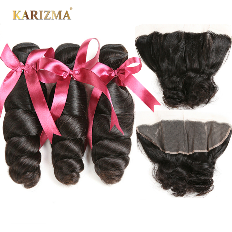 Karizma Brazilian Loose Wave Bundles With Frontal 13X4 Ear To Ear Lace Frontal Closure With Bundles