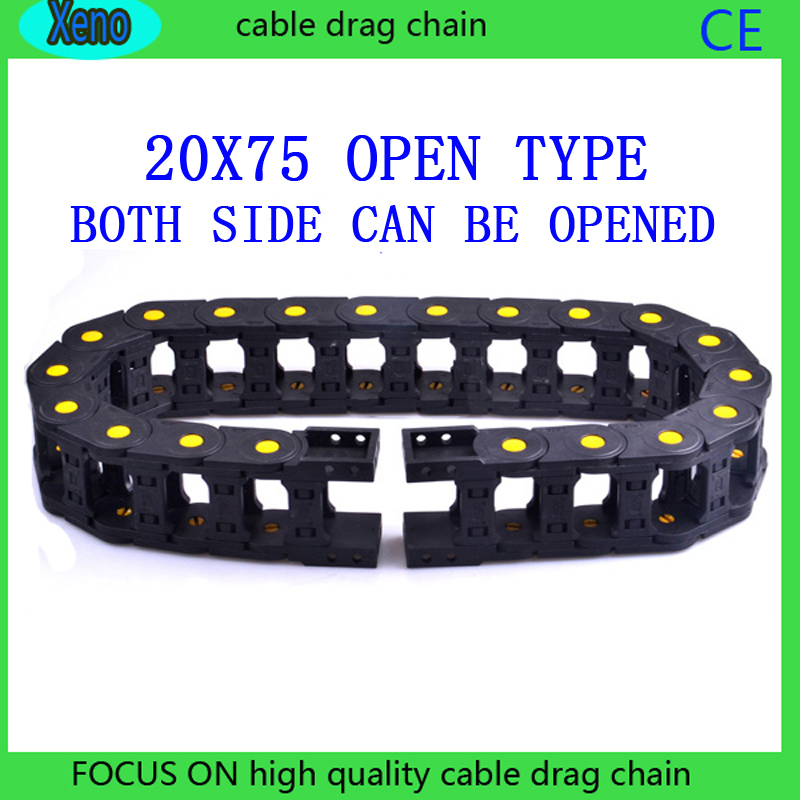 20x75mm 10 Meters Open Type Reinforced Nylon Wire Carrier With Yellow Points For CNC Route Machine20x75mm 10 Meters Open Type Reinforced Nylon Wire Carrier With Yellow Points For CNC Route Machine