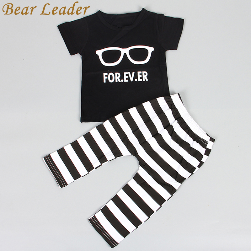 Bear Leader 2016 Hot Fashion Baby Boy Clothing Set Cool Glasses Short Sleeve Cartoon T-shirt+Pants Infant Bebe Newborn Clothes