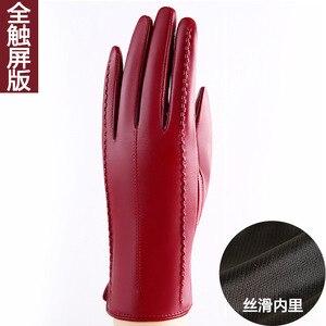 Image 4 - Zimowe oryginalne skórzane rękawiczki rękawice z owczej skóry dodaj aksamitne pogrubienie krótkie rękawiczki telefingers damskie rękawiczki do ekranu dotykowego MLZ005