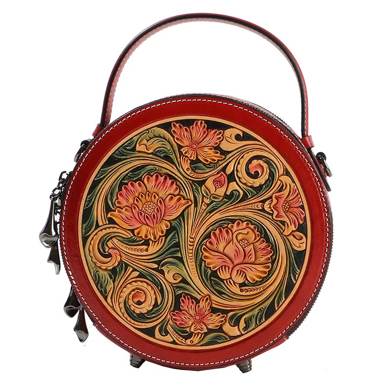 China Style Hand Engraved Lady Small Circular Handbag Genuine Cow Leather Carved Female Flower Shoulder Bag Women Crossbody Bag-in Shoulder Bags from Luggage & Bags    1