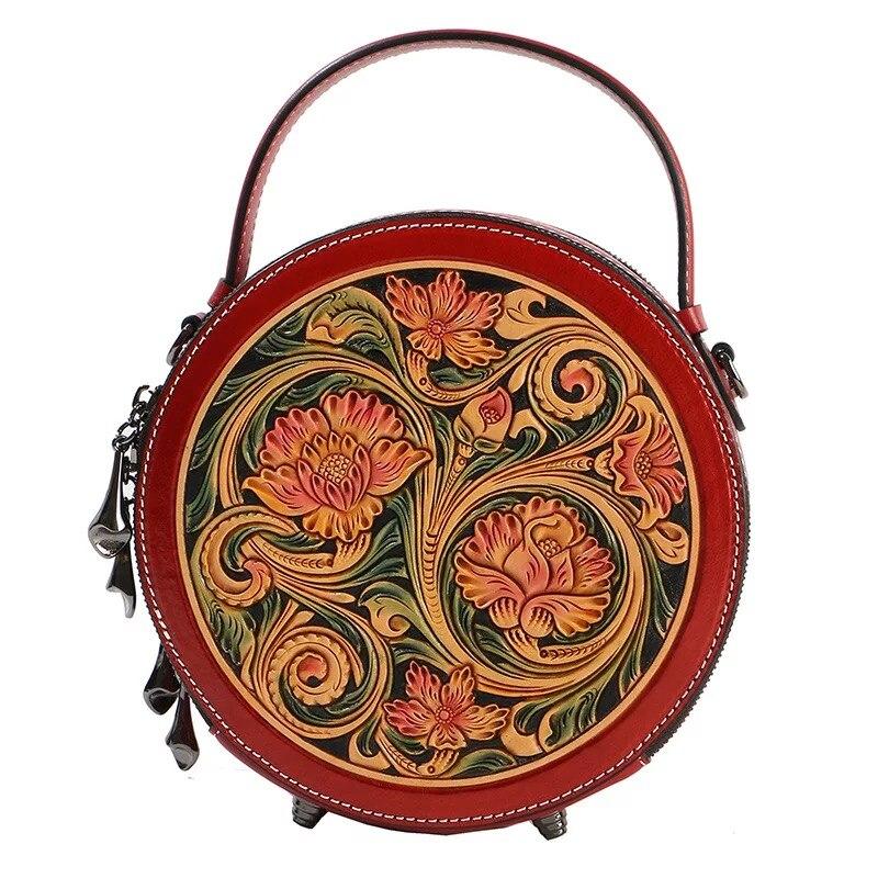 Chine Style gravé à la main dame petit sac à main circulaire véritable cuir de vache sculpté femme fleur sac à bandoulière femmes sac à bandoulière