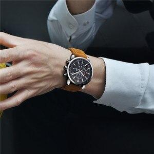 Image 4 - ساعة يد للرجال من BENYAR كرونوغراف مقاومة للماء ساعات يد رياضية من الجلد الطبيعي للرجال من علامة تجارية فاخرة ساعة رجالية عسكرية 5102