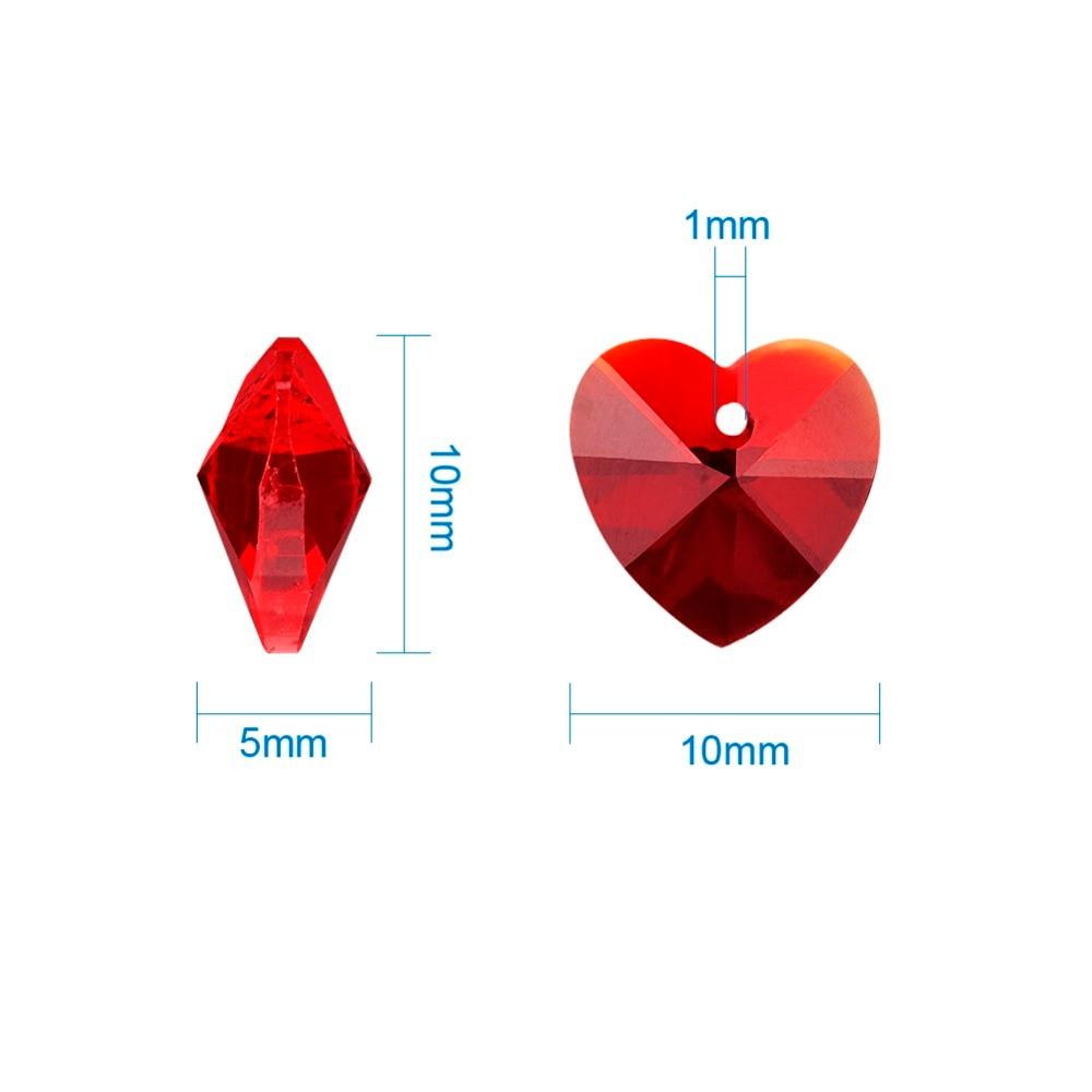 100PC Mixed Colour Faceted Heart Transparent Glass Charm Pendants DIY 10x10x5mm