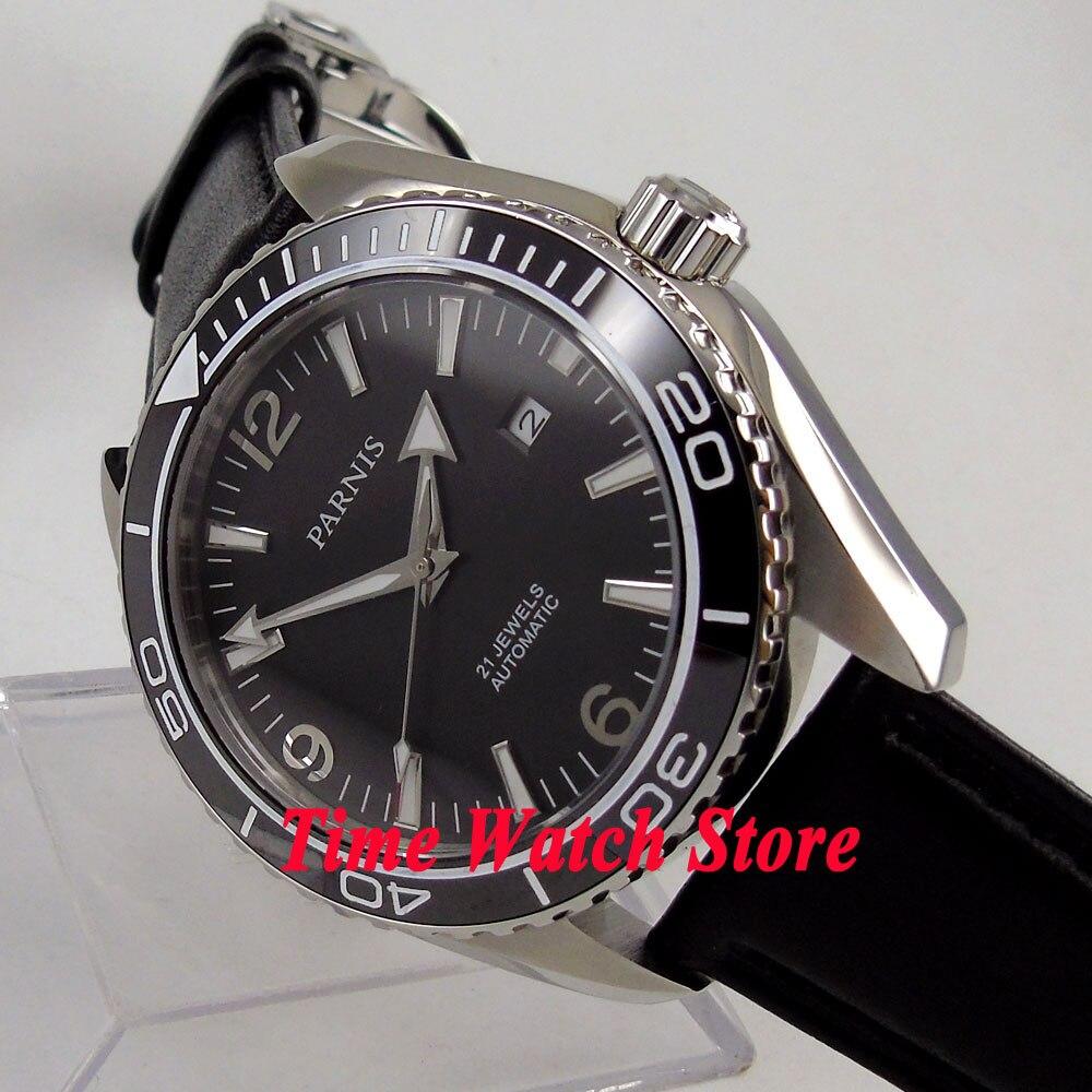 Parnis watch 45mm black dial Ceramic Bezel Sapphire Glass 5ATM 21 jewels MIYOTA Automatic movement Men's watch men 289A цена и фото