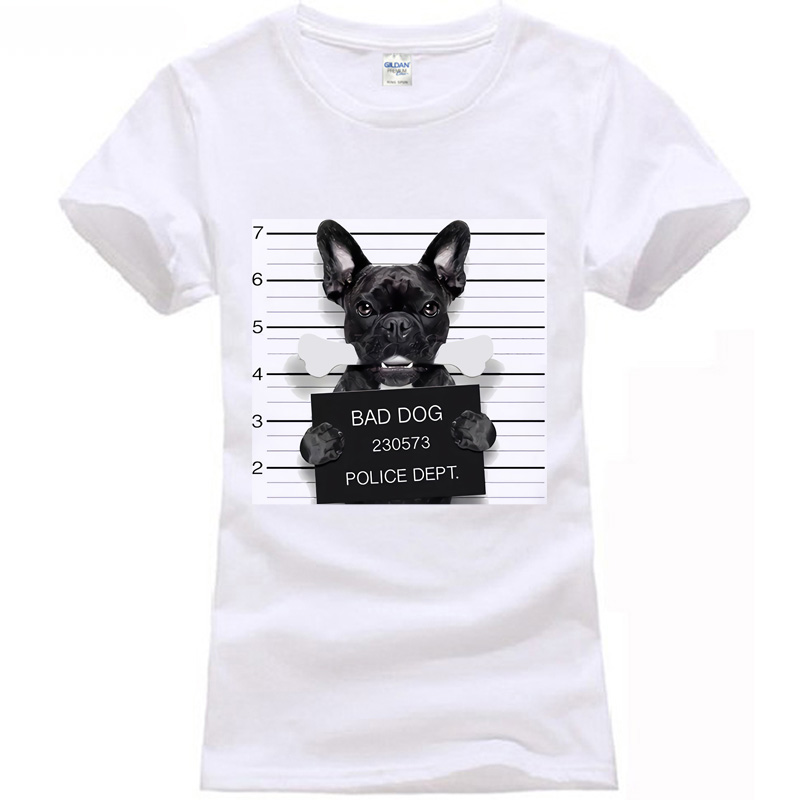 Wanted Bad Dogs Mugshot - Mr French 2018 Bulldog Bone Funny Joke women T Shirt Tee