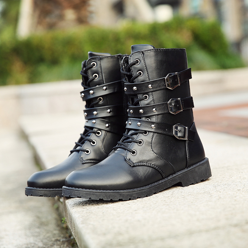 2018 New boots PUNK Rock Spring mens Martin boots high tube casual boots long boots fashion horse boots stage performance boots