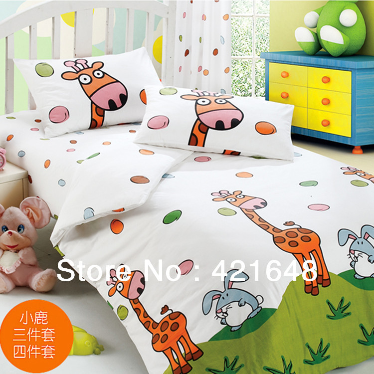 cartoon kid giraffe bedding set 100 cotton stripe print bed sheets fitted four piece set home textile child - Kid Sheets