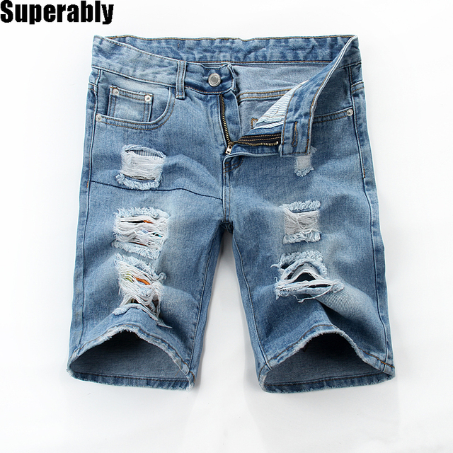 Aliexpress.com : Buy Mens Blue Shorts Jeans Ripped Denim Knee ...